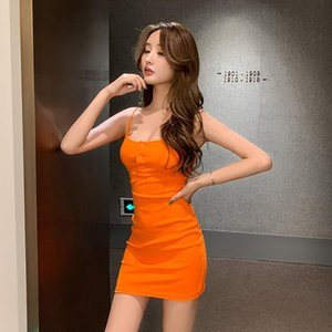 Sexy Bodycon Mini Dresses For Ladies Fashion Slim Solid Color Button Dress Female Backless Sling Tight Dress