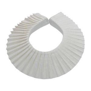 Women Vintage Pleated White False Fake Collar Faux Pearl Button Detachable Choker Shawl Sweater Decorative Accessories