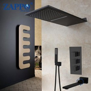 Zappo Matte Black Thermostatic Mixer Bath Shower Faucetstap 3 4 가지 방법 샤워 꼭지 벽 마운트 비 탑재 Rain Waterfall Set1