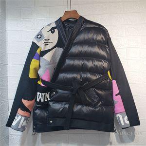 Nancylim Down Algodão-acolchoado jaqueta para as mulheres 2020 Inverno Novo Elegante Malha Costura Cinto Solto Digite Parka Casaco Lady