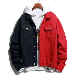 Autunno inverno uomini rivestimento del denim auto-coltivazione di modo casuale a due colori cuciture nero nero / rosso / blu nero / giacca jeans bianchi
