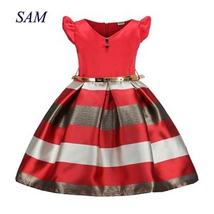 Dresses for Girl European and American Summer Girls Dress Patchwork Sashes Children's Clothes Princess Prom Dress 3-9 Years Z1127