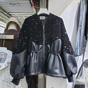 2020 new european fashion women's paillette shinny bling patchwork PU leather lacing slim waist loose long sleeve coat casacos SML