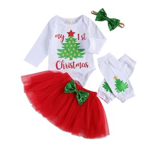 Infant Newborn Baby Kid Girls Christmas Tree Long Sleeve Top Short Yarn Skirt for Baby Sparkle Bow Hairband Stockings Cover 5Pcs