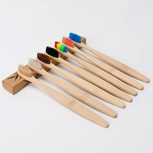 Natural Bamboo Handle Toothbrush Rainbow Colorful Whitening Soft Bristles Bamboo Toothbrush Eco-friendly Paper Box Package EEA2188