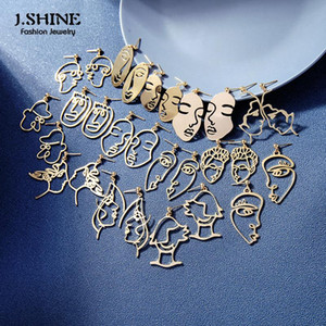 JSHINE abstracto Minimalistas Mujeres Pendientes Drop Rings Lady Face Line Art Fashion Jewelry Gold Color Brass Metal Pendientes Accesorios