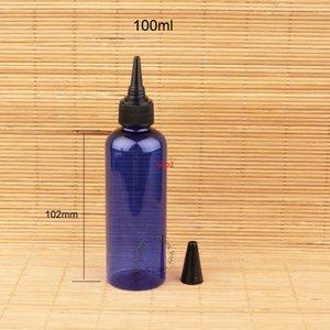 good qualtity50pcs Lot Plastic 100ml Cobalt Blue Shampoo Body Bottle100g Women Cosmetic Container Empty Lotion Black Lid Refillable Packagin