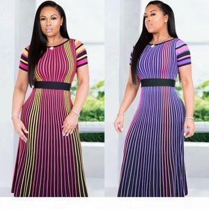 Summer Women Striped Print Midi Dress Casual Multi Short Sleeve Elastic High Waist Slim A Line Dress Purple Rose Red