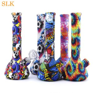 wholesale 8.6'' mini beaker water pipes straight bong non fading colorful pattern silicone bongs dabs rig water bubbler smoking pipe Hookah