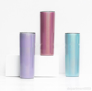 Sublimation 20oz Tumblers Rainbow Stainless Steel Skinny Tumbler Double Wall Vacuum Water Bottle Insulated Drinking Cup DHD1678