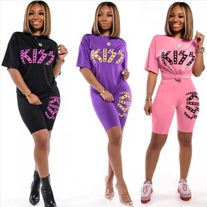 New Letter Print Two Piece Outfits Set Women Shorts Set Tracksuit 2020 Summer T Shirt Sexy Tops Biker Shorts Jogger suits sets