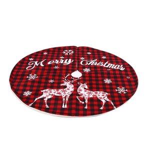 Christmas Plaid Elk Snowflake Printed Tree Skirt Decorative Floor Mat Home Ornaments