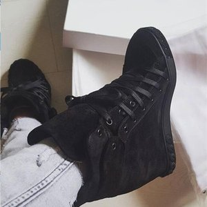Spring Fashion Black Suede Leather Women Increased Heel Casual Shoes Lace Up Ladies High Quality Roma Style Flats SneakerZ1126