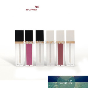 7ml Plastic Square Cosmetic Lip Gloss Lip Balm Frosted Tube, Empty Transparent Lipstick Glaze Packing Bottle Concealer Box