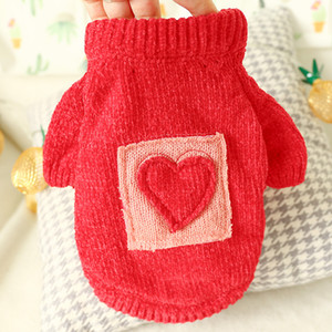 Dog Cat Sweater Teddy Christmas Dog clothing Red Pet Jumper LOVE Clothes for Small Cats Dogs XS S M L XL