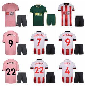 20 21 Sheffield Futbol Birleşik 22 Lys Mousset Jersey Set 9 Oliver McBurnie 7 John Lundstram John Fleck Ana Stevens Futbol Gömlek Kitleri