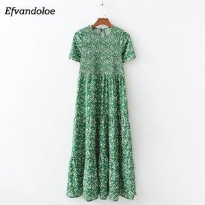 Efvandoloe Green Maxi платье длинные цветочные летние платья для женщин Boho Одежда Jurken Robe Femme T200613