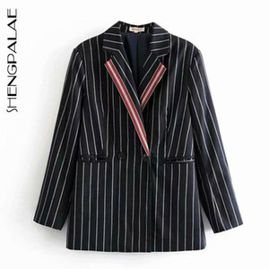 SHENGPALAE Retro Stripe Blzaer Women's 2021 Spring Lapel Contrast Color Double Breasted Long Sleeve Female Suit Coat Trend 5A833