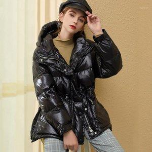 Женщины пуховики Parkas водонепроницаемая зимняя куртка Женщины с капюшоном 2021 толстые блестящие глянцевые самки 90% белый утиный пальто с ремень
