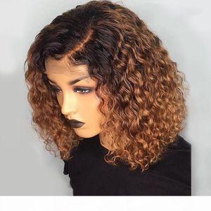 1b 27 цветных коротких вьющихся кружева фронт человеческих волос с волосами для волос для волос с ребенком Precucked Remy бразильский кружевной боб парики отбеленные узлы