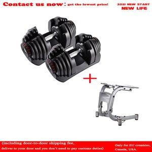 Ginásio 52.5LB Ajustável Dumbbell Set 24kg Household 16 Engrenagens Rápido Ajustar Automático Aço Halteres Rack 90LB Fitness Equipamentos