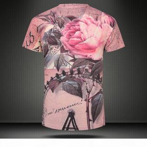 w1209 2015 new summer vintage short sleeve v neck 3d t shirt men brand casual punk floral print cotton tops & tees Mens Clothing