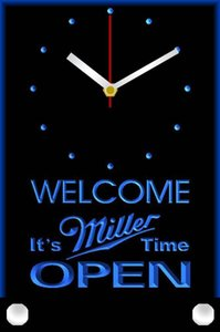 tnc0025 Welcome It's Miller Time Beer OPEN Table Desk 3D LED Clock