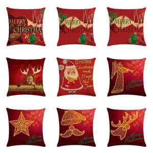 NEW Christmas Pillow Case Cover Throw Sofa Cushion Fashion Linen Pillowcase Santa Claus Cushion Cover Xmas Gift Home Decor 45*45cm AHA2641