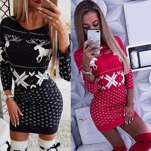 Noel Bodycon elbiseler kadınlar için 2020 moda Noel baskı kadın elbise uzun kollu ilkbahar sonbahar giyim kadın için