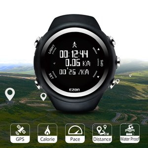 Men's Digital Sport Watch Gps Running Watch With Speed Pace Distance Calorie burning Stopwatch Waterproof 50M EZON T031 201130