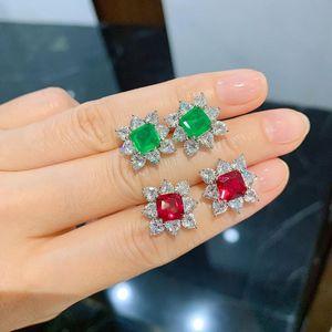 Vintage 925 Sterling Silber 7 * 7mm Ruby Smaragd Stein Ohrstecker Für Frauen Hochzeit Hoher Carbon Diamant Edelstein Edle Schmuck