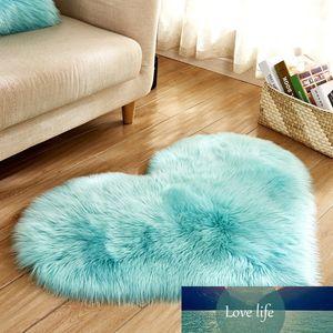 Love Heart Rugs NO Lint Carpet Carpet Artificial Wool Sheepskin Hairy Mat Faux Fluffy Mats Kid Room Area Rug for Living Room
