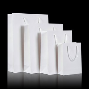 White Paperboard Gift Bags with Handle Wedding Party Favor Package Bags Christmas Present Wrap Supplies