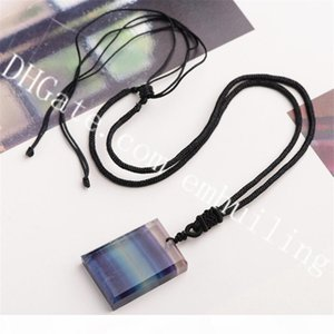 5Pcs Hand Carved and Polished Rectangle Gorgeous Natural Rainbow Fluorite Crystal Gemstone Pendant on Adjustable Rope Necklace for Men Women