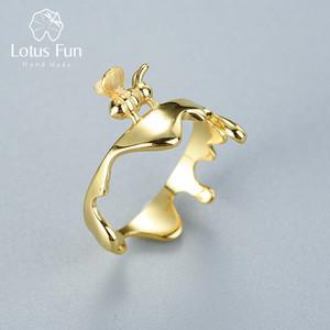 Lotus Fun Real 925 Стерлинговое кольцо серебро натуральный оригинальный ручной работы дизайнер изысканные украшения пчелы и капания медовые кольца для женщин Z1121
