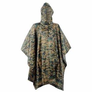 Multifunction Military Impermeable Nylon Adult Raincoat Digital Waterproof Tent Mat Unisex Rain Poncho Camping Fishing Rainwear Q1201