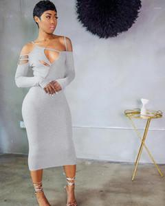 Sexy aushöhlen fest farbe unregelmäßige kleid mode beiläufig midi kleider vestidos de mujer herbst frauen kleidung