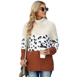 Winter Sweater Women Long Sleeve Knit Top Leopard Splicing High Collar Pullovers Comfortable Breathable Fashionable Streetwear