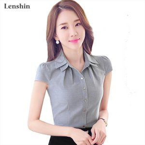 Lenshin Cotton Shirt Casual Style New Fashion Short Sleeve Gray Blouse Tops Women Summer Wear Office Ladies