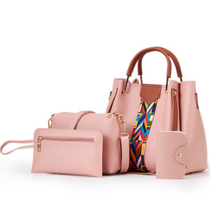 designer handbags 4 pcs set composite bag with card holder ladies handbags cheap Pu leather large capacity bucket bags