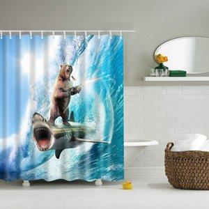DAFIELD animales Divertido Oso valiente en un tiburón Ducha Cortina Tema Arte para la tela lavable Decoración de baño Ducha Cortina de ducha Y200108