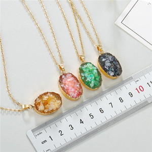 1PC New Rainbow Resin Stone Pendants Necklace Fashion Jewelry European Broken Stones Oval Chain Necklaces for Women N559