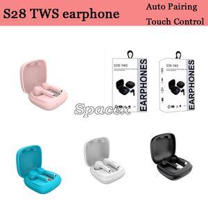 S28 TWS Wireless Bluetoothv5.1 Auriculares AUTOMÓVILES AUTOMASES A Los auriculares a prueba de agua universales Auriculares de control táctil con pantalla digital