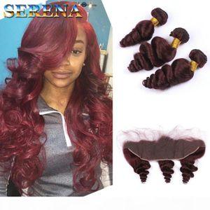 Bon marché 99J Burgundy Brazilian Body Wave Virgin Humain Hair Weave 4 Bundles avec Frontal 10-30inch Straight Dee Deep Loose Funmi Cheveux