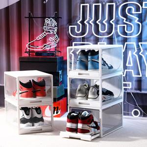 Boîte de rangement de chaussures de montage Plastique Transparent Chaussures de basketball Collection Collection Afficher la chaussure Cabinet Baskets Flip Couvercle Tirant des boîtes à chaussures