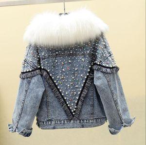 Autumn Winter Black Denim Jacket Women Real Fur Collar Removable Inner Rivet Bead Loose Jeans Coat Thickened Warm Parka Coats