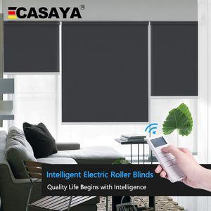 Casaya özelleştirilmiş motorlu güneşlikler gün ışığı ve karartma elektrik panjurları şarj edilebilir tübüler motorlu akıllı güneşlikler ev / ofis T200718