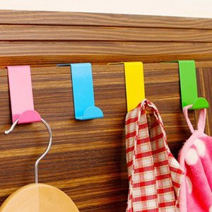 2Pcs Z Door Over Hooks Don'T Need Nail Home Closet Cabinet Candy Color Metal Towel Clothes Holder Hooks Kitchen Organizer