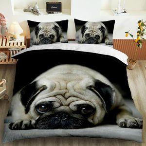 Animal 3D Lindo perro personalizado juego de ropa de cama Edredón Funda de almohada 3pcs Twin Designer Designer Ropa de cama Lujo