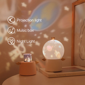 LED 360 Degree Rotation Guardian Angel Universe Starry Music Projector Cosmic Projection Night Light Lamp LED Lamp for Baby Gift